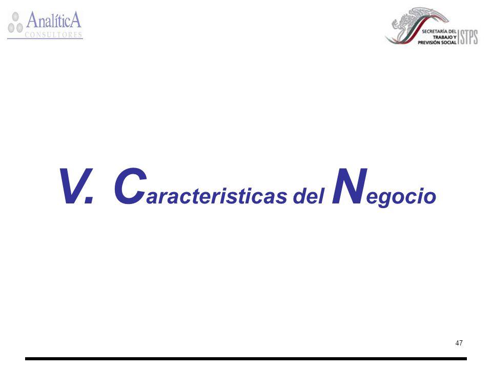 47 V. C aracteristicas del N egocio