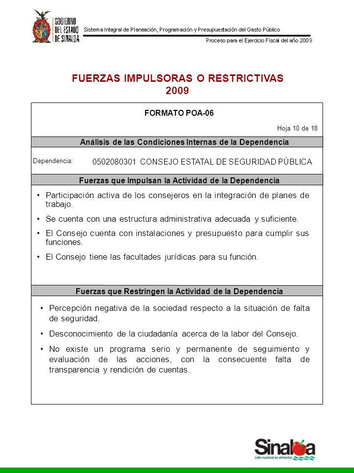 Consejo Estatal de Seguridad Pública Gobierno del Estado 9 FUERZAS IMPULSORAS O RESTRICTIVAS 2009 FORMATO POA-06 Dependencia: Análisis de las Condicio