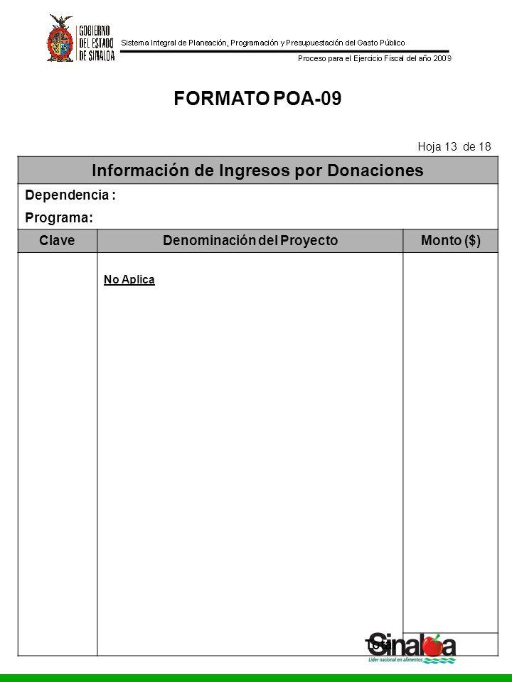 Consejo Estatal de Seguridad Pública Gobierno del Estado 9 FORMATO POA-09 Hoja 13 de 18 Información de Ingresos por Donaciones Dependencia : Programa: ClaveDenominación del ProyectoMonto ($) No Aplica Total