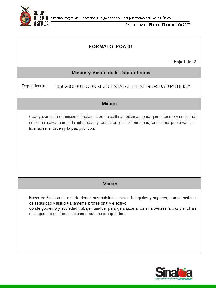 Consejo Estatal de Seguridad Pública Gobierno del Estado 9 Misión Visión FORMATO POA-01 Misión y Visión de la Dependencia Dependencia: Hoja 1 de 18 05