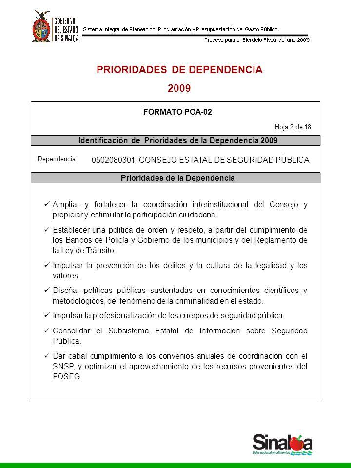 Consejo Estatal de Seguridad Pública Gobierno del Estado 9 PRIORIDADES DE DEPENDENCIA 2009 FORMATO POA-02 Identificación de Prioridades de la Dependen