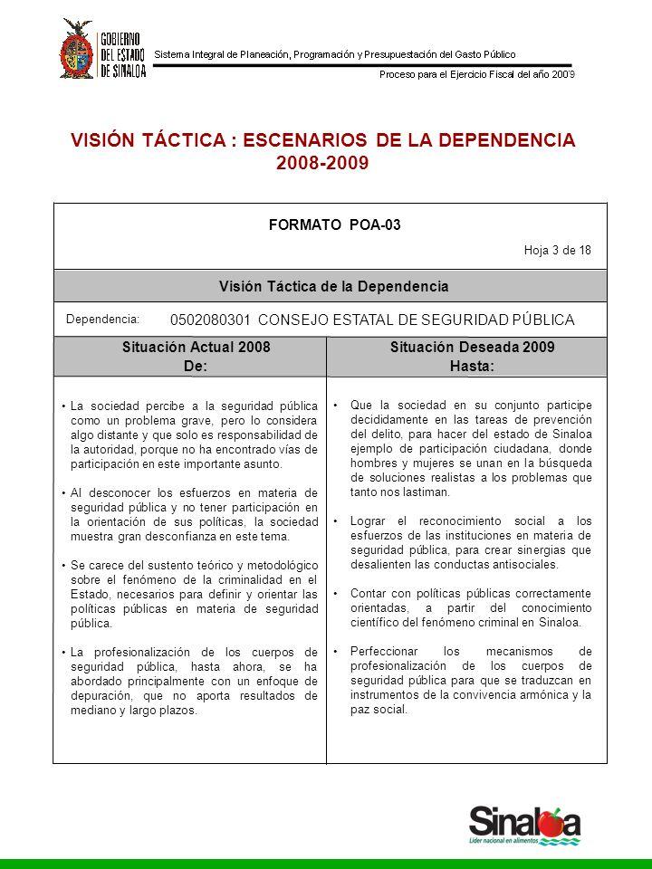 Consejo Estatal de Seguridad Pública Gobierno del Estado 9 VISIÓN TÁCTICA : ESCENARIOS DE LA DEPENDENCIA 2008-2009 Situación Actual 2008Situación Dese