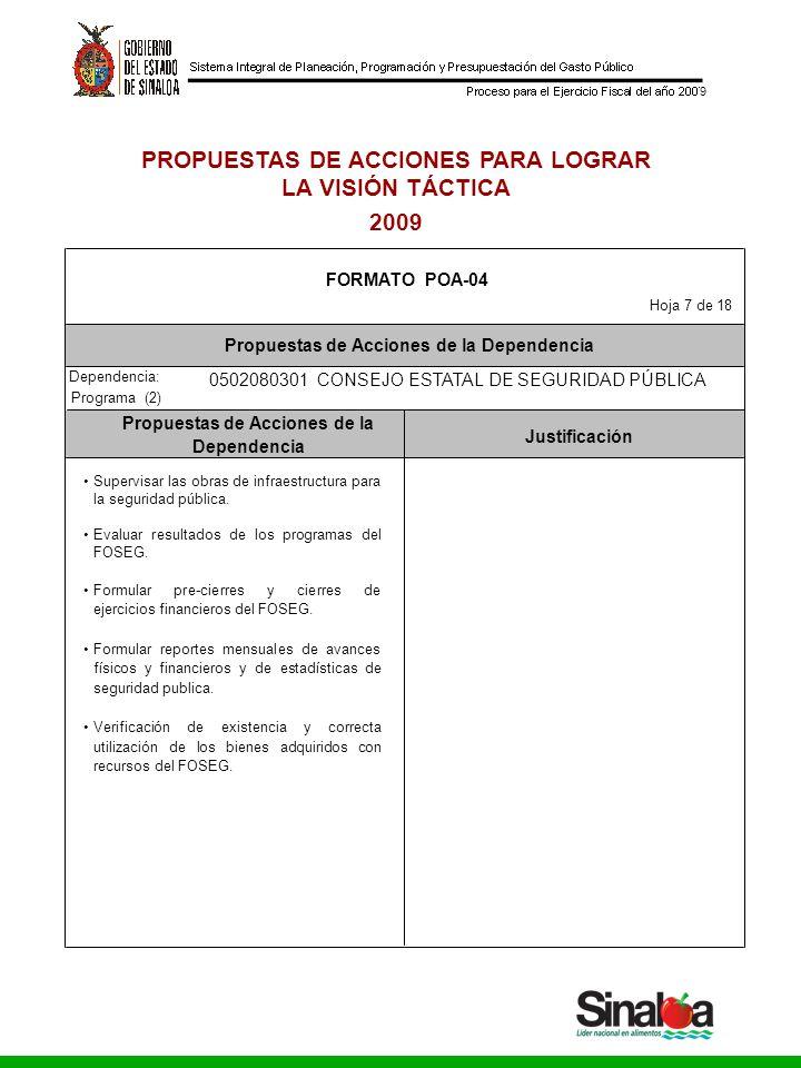 Consejo Estatal de Seguridad Pública Gobierno del Estado 9 PROPUESTAS DE ACCIONES PARA LOGRAR LA VISIÓN TÁCTICA 2009 Dependencia: Propuestas de Accion