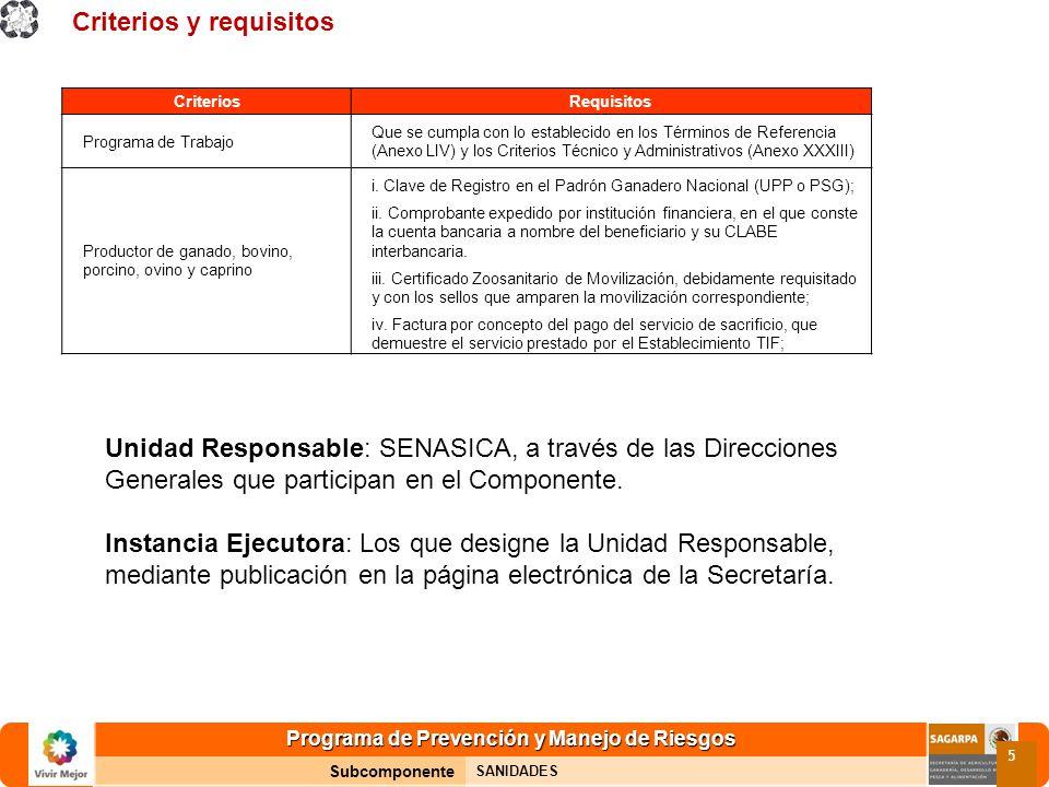 Programa de Prevención y Manejo de Riesgos Subcomponente SANIDADES 5 Criterios y requisitos CriteriosRequisitos Programa de Trabajo Que se cumpla con