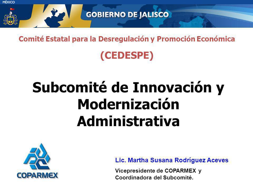 Subcomité de Innovación y Modernización Administrativa Lic. Martha Susana Rodríguez Aceves Vicepresidente de COPARMEX y Coordinadora del Subcomité. Co