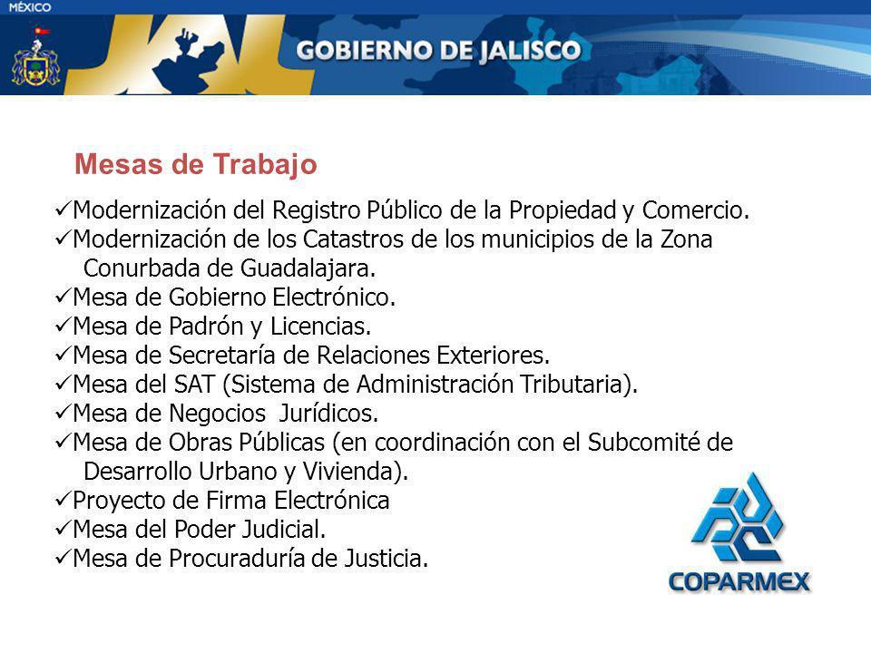 Modernización del Registro Público de la Propiedad y Comercio. Modernización de los Catastros de los municipios de la Zona Conurbada de Guadalajara. M