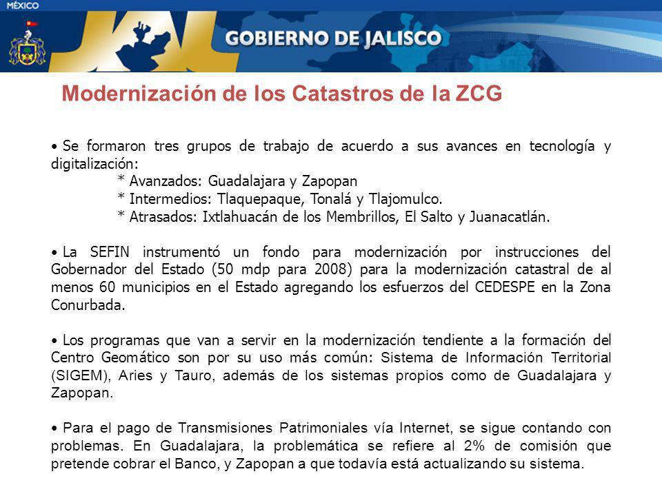 Se formaron tres grupos de trabajo de acuerdo a sus avances en tecnología y digitalización: * Avanzados: Guadalajara y Zapopan * Intermedios: Tlaquepa