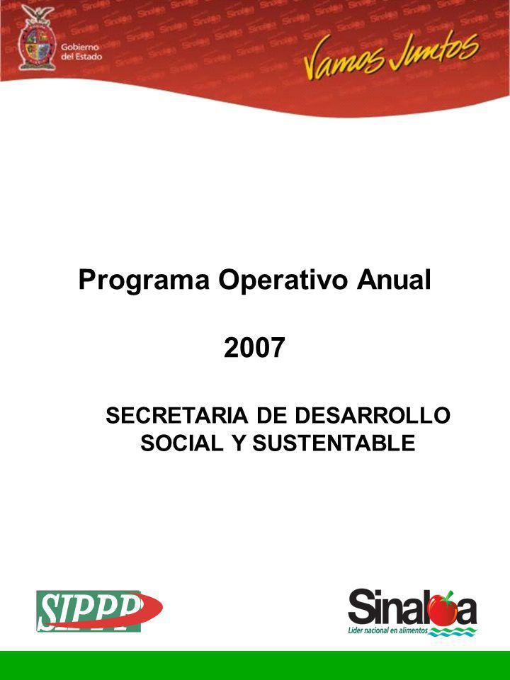 Sistema Integral de Planeación, Programación y Presupuestación Proceso para el Ejercicio Fiscal del año 2007 Gobierno del Estado PROPUESTAS DE ACCIONES PARA LOGRAR LA VISIÓN TÁCTICA 2007 FORMATO POA-04 Propuestas de Acciones de la Dependencia Programa: DESARROLLO SOCIAL INCLUYENTE Hoja 42 de 64 Dependencia: 05020401 SECRETARIA DE DESARROLLO SOCIAL Y SUSTENTABLE COMISION ESTATAL DE AGUA POTABLE Y ALCANTARILLADO DE SINALOA (CEAPAS) 1.-Diagnosticar situación de los servicios de agua en poblados de 100 a 500 habitantes.