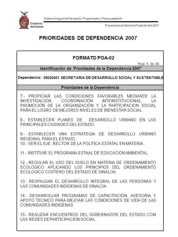 Sistema Integral de Planeación, Programación y Presupuestación Proceso para el Ejercicio Fiscal del año 2007 Gobierno del Estado PRIORIDADES DE DEPENDENCIA 2007 FORMATO POA-02 Identificación de Prioridades de la Dependencia 2007 Prioridades de la Dependencia Hoja 7 de 64 Dependencia: 05020401 SECRETARIA DE DESARROLLO SOCIAL Y SUSTENTABLE 16.- REALIZAR TALLERES INFORMATIVOS FOCALIZADOS.