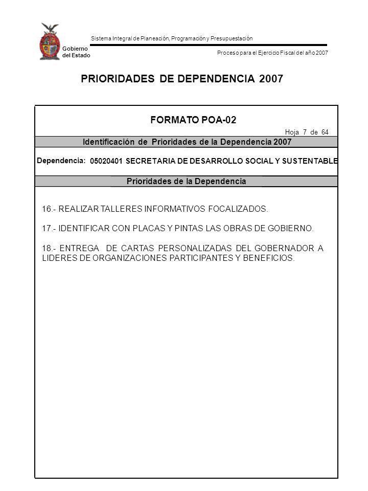 Sistema Integral de Planeación, Programación y Presupuestación Proceso para el Ejercicio Fiscal del año 2007 Gobierno del Estado INDICADORES DE IMPACTO Y META ANUAL DE LA DEPENDENCIA 2007 Indicadores de Impacto de laMeta Anual DependenciaAlcance al Término del año 2007 FORMATO POA-05 Indicadores de Impacto de la Dependencia Hoja 58 de 64 Programa: DESARROLLO SOCIAL INCLUYENTE Dependencia: 05020401 SECRETARIA DE DESARROLLO SOCIAL Y SUSTENTABLE (Comunidades programadas/comunidades atendidas)*10.