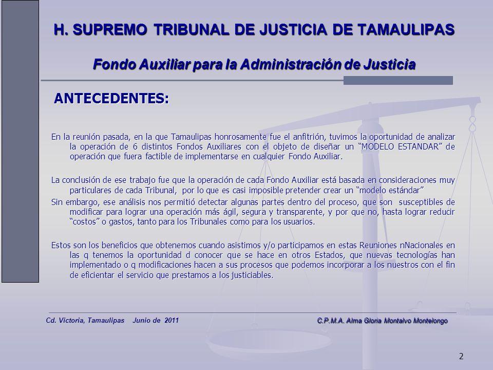 1 C.P.M.A. Alma Gloria Montalvo Montelongo Cd. Victoria, Tamaulipas Junio de 2011 C.P.M.A. Alma Gloria Montalvo Montelongo 1a REUNION NACIONAL DE JUEC