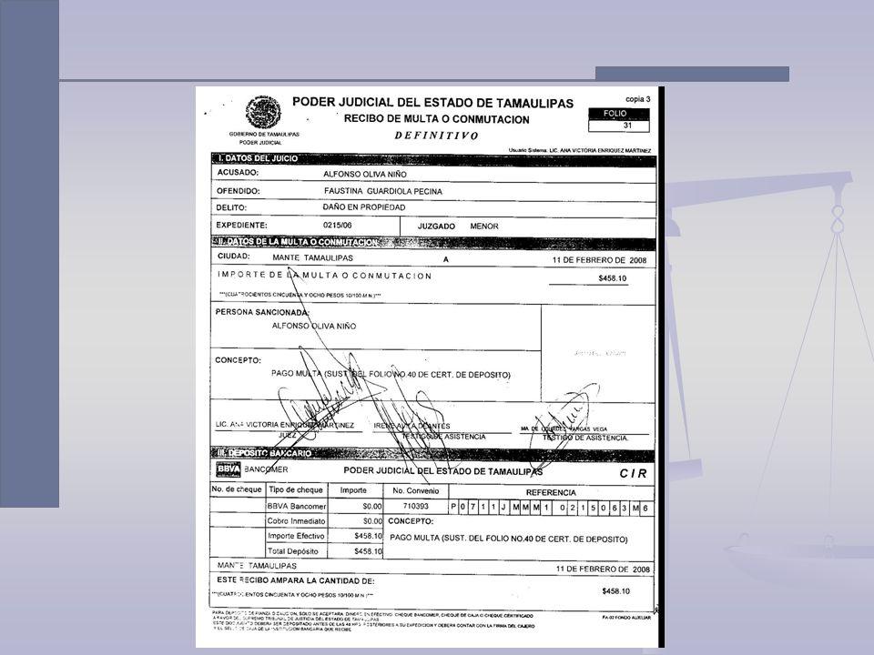 Multa y/o Conmutación Opciones de pago: Deposito Bancario con CIR En efectivo Con cheque personal banco autorizado Con cheque de caja Con cheque regis