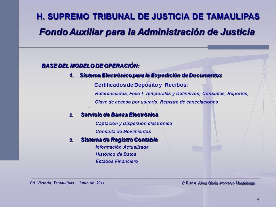 3 H. SUPREMO TRIBUNAL DE JUSTICIA DE TAMAULIPAS Fondo Auxiliar para la Administración de Justicia Eficiente Eficiente Seguro Seguro Transparente Trans