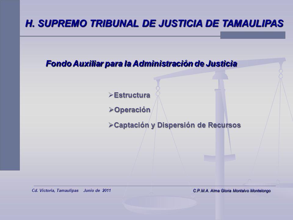 8 H. SUPREMO TRIBUNAL DE JUSTICIA DE TAMAULIPAS Fondo Auxiliar para la Administración de Justicia Maestra. Alma Gloria Montalvo Montelongo Cd. Victori