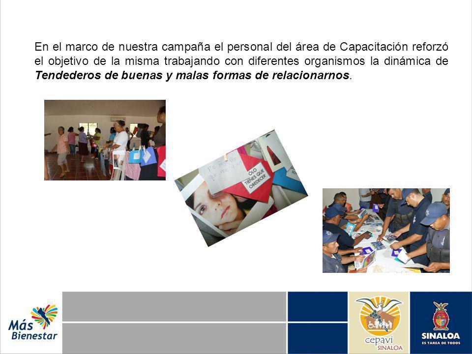 En el marco de nuestra campaña el personal del área de Capacitación reforzó el objetivo de la misma trabajando con diferentes organismos la dinámica d