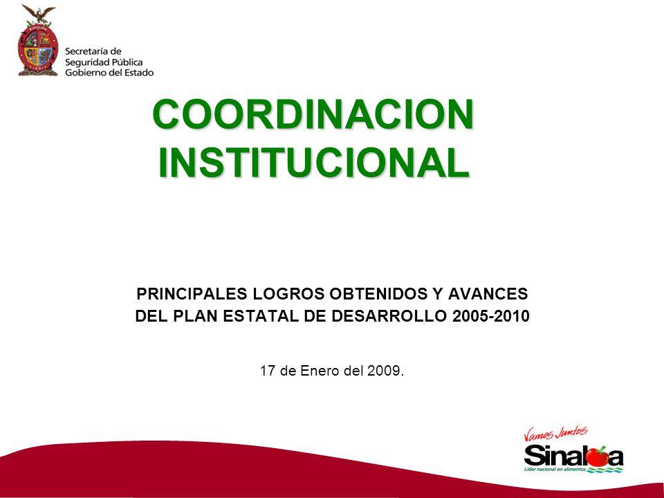 COORDINACION INSTITUCIONAL PRINCIPALES LOGROS OBTENIDOS Y AVANCES DEL PLAN ESTATAL DE DESARROLLO 2005-2010 17 de Enero del 2009.