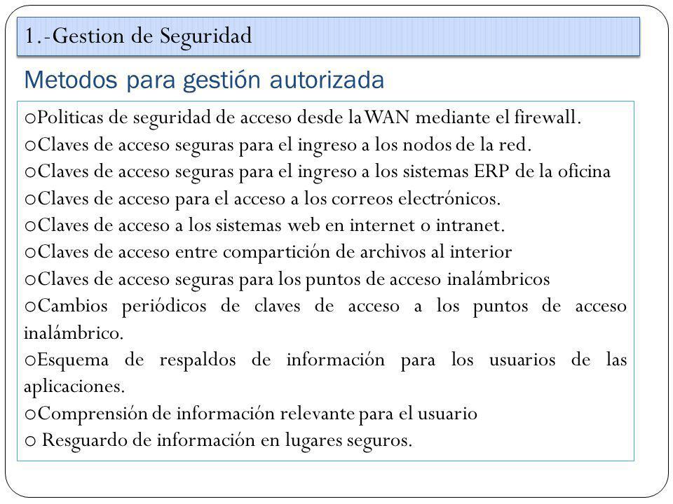 Metodos para gestión autorizada 1.-Gestion de Seguridad o Politicas de seguridad de acceso desde la WAN mediante el firewall. o Claves de acceso segur