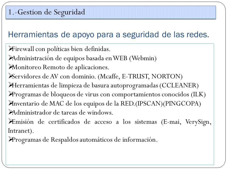 Herramientas de apoyo para a seguridad de las redes. 1.-Gestion de Seguridad Firewall con políticas bien definidas. Administración de equipos basada e