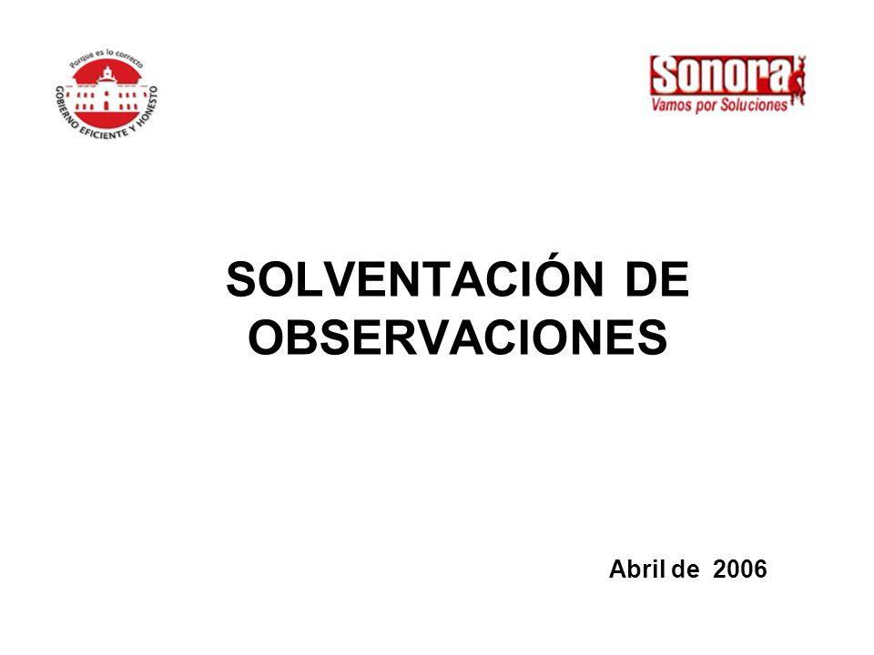 SOLVENTACIÓN DE OBSERVACIONES Abril de 2006