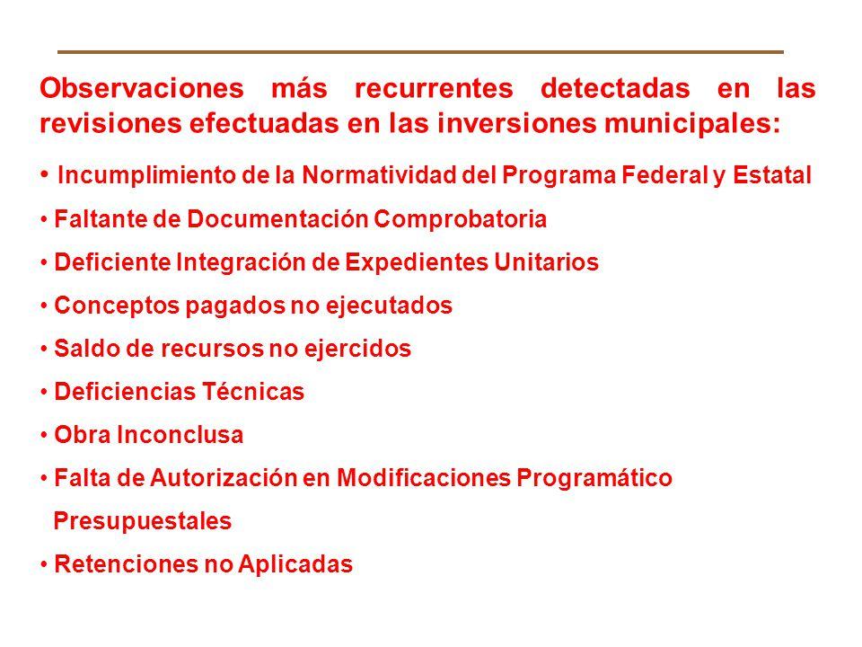 Observaciones más recurrentes detectadas en las revisiones efectuadas en las inversiones municipales: Incumplimiento de la Normatividad del Programa F