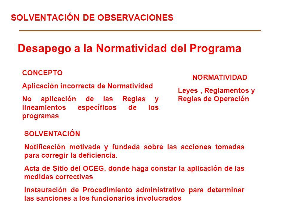 SOLVENTACIÓN DE OBSERVACIONES Desapego a la Normatividad del Programa CONCEPTO Aplicación incorrecta de Normatividad No aplicación de las Reglas y lin