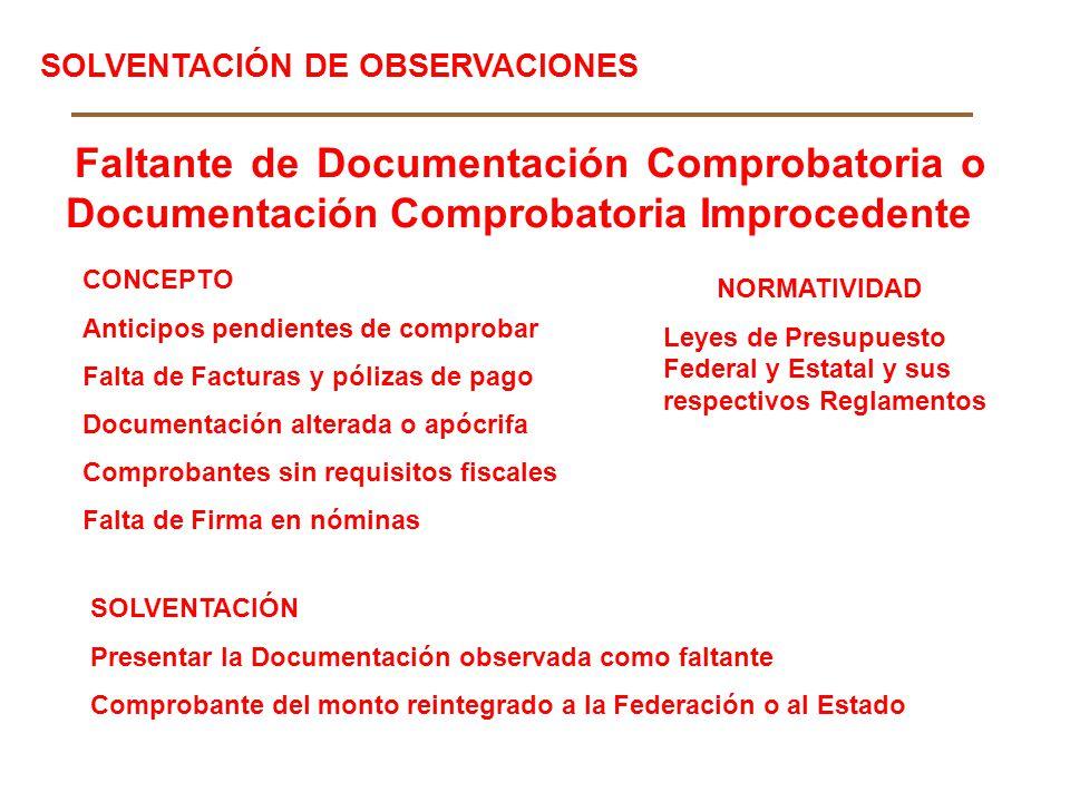 Faltante de Documentación Comprobatoria o Documentación Comprobatoria Improcedente CONCEPTO Anticipos pendientes de comprobar Falta de Facturas y póli