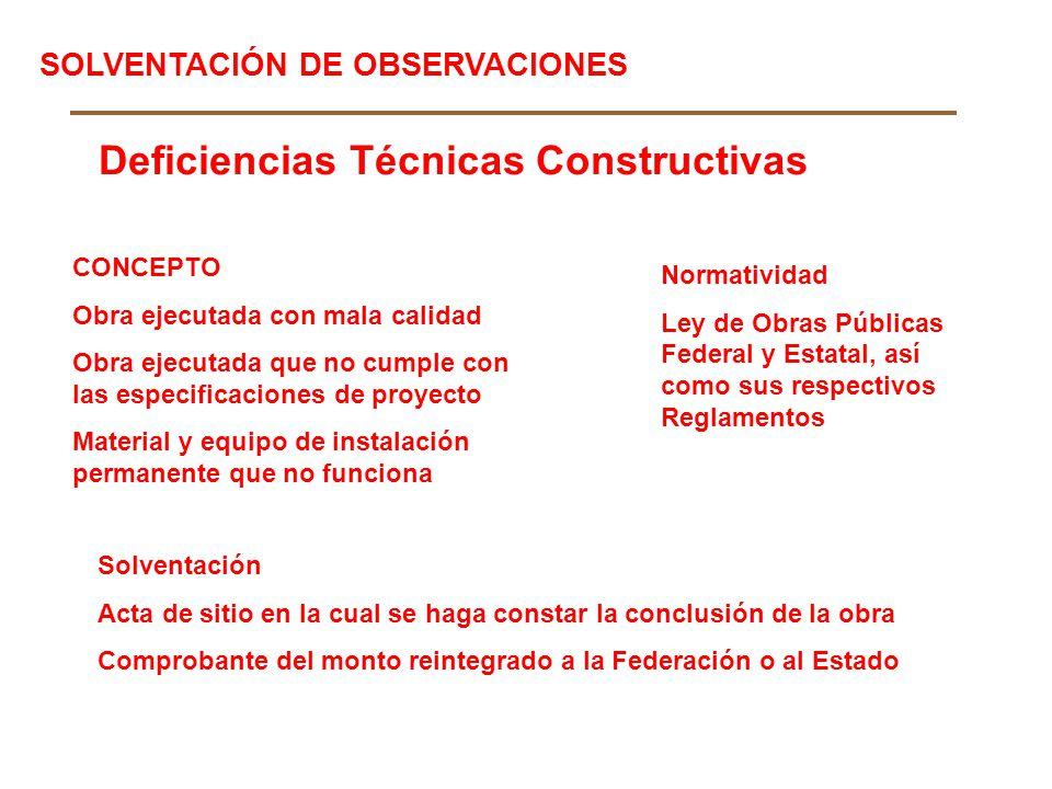 Deficiencias Técnicas Constructivas CONCEPTO Obra ejecutada con mala calidad Obra ejecutada que no cumple con las especificaciones de proyecto Materia