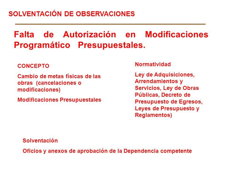 Falta de Autorización en Modificaciones Programático Presupuestales. CONCEPTO Cambio de metas físicas de las obras (cancelaciones o modificaciones) Mo