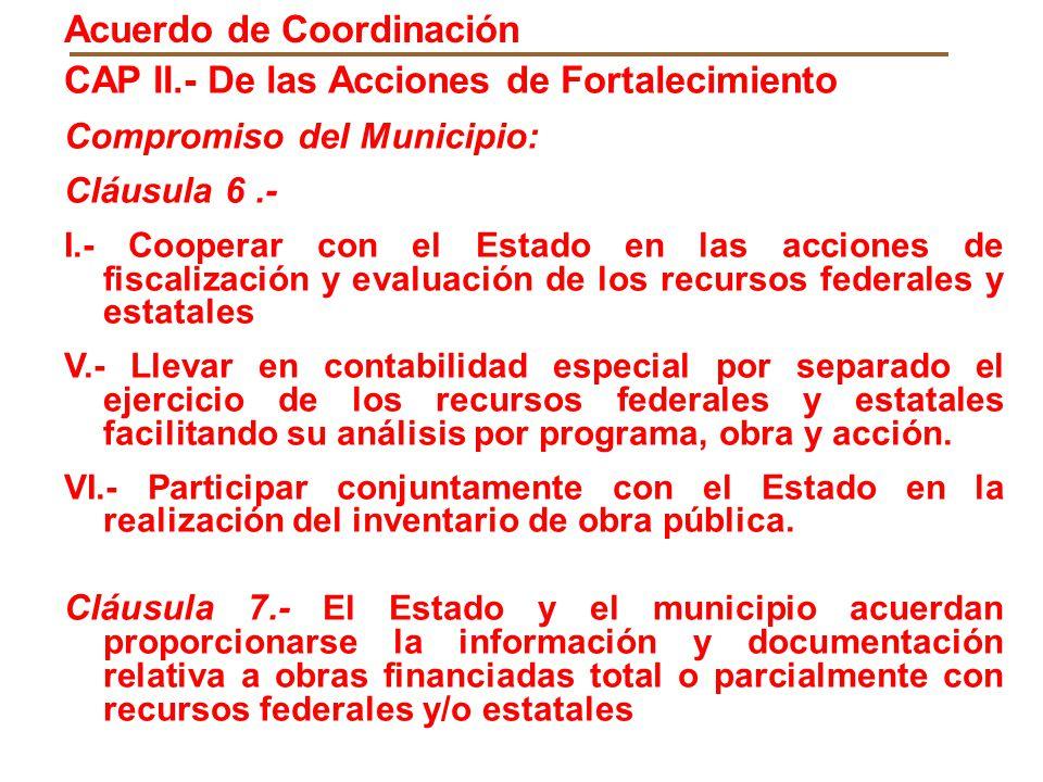 CAP II.- De las Acciones de Fortalecimiento Compromiso del Municipio: Cláusula 6.- I.- Cooperar con el Estado en las acciones de fiscalización y evalu