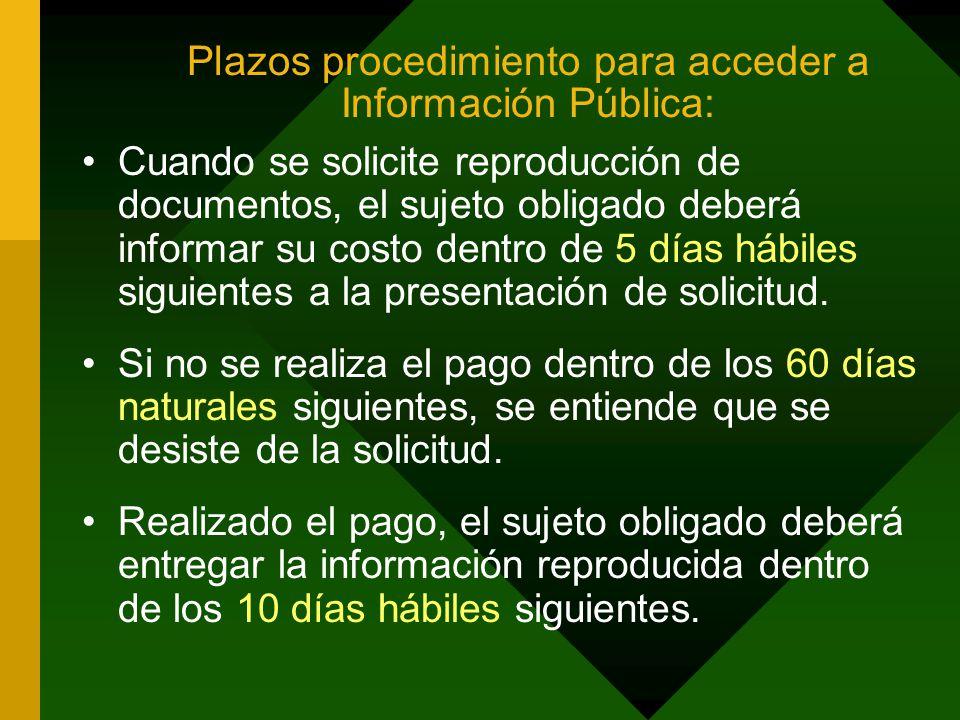 Plazos procedimiento para acceder a Información Pública: Cuando se solicite reproducción de documentos, el sujeto obligado deberá informar su costo dentro de 5 días hábiles siguientes a la presentación de solicitud.