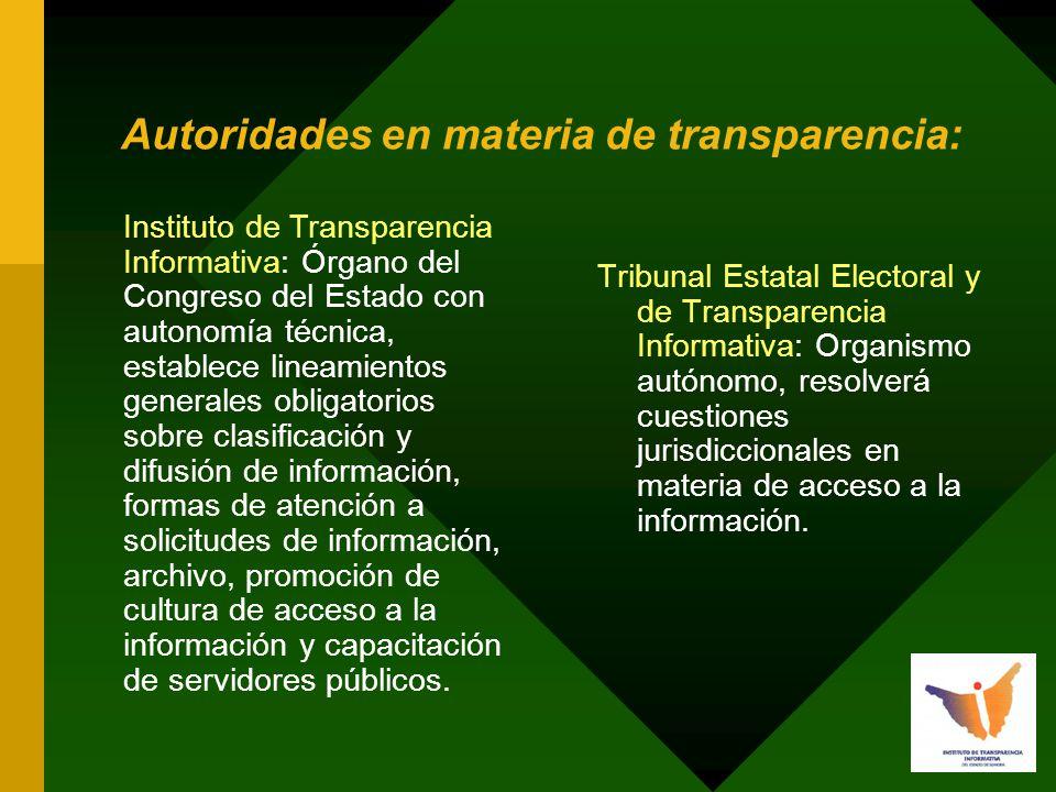 Autoridades en materia de transparencia: Tribunal Estatal Electoral y de Transparencia Informativa: Organismo autónomo, resolverá cuestiones jurisdiccionales en materia de acceso a la información.