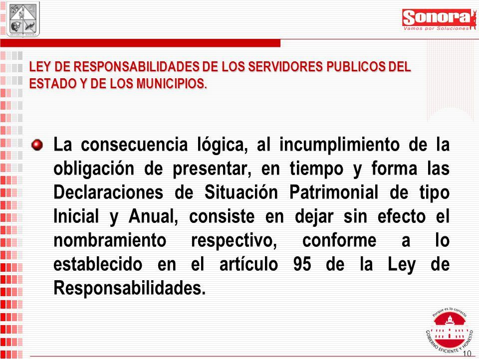 10 La consecuencia lógica, al incumplimiento de la obligación de presentar, en tiempo y forma las Declaraciones de Situación Patrimonial de tipo Inicial y Anual, consiste en dejar sin efecto el nombramiento respectivo, conforme a lo establecido en el artículo 95 de la Ley de Responsabilidades.