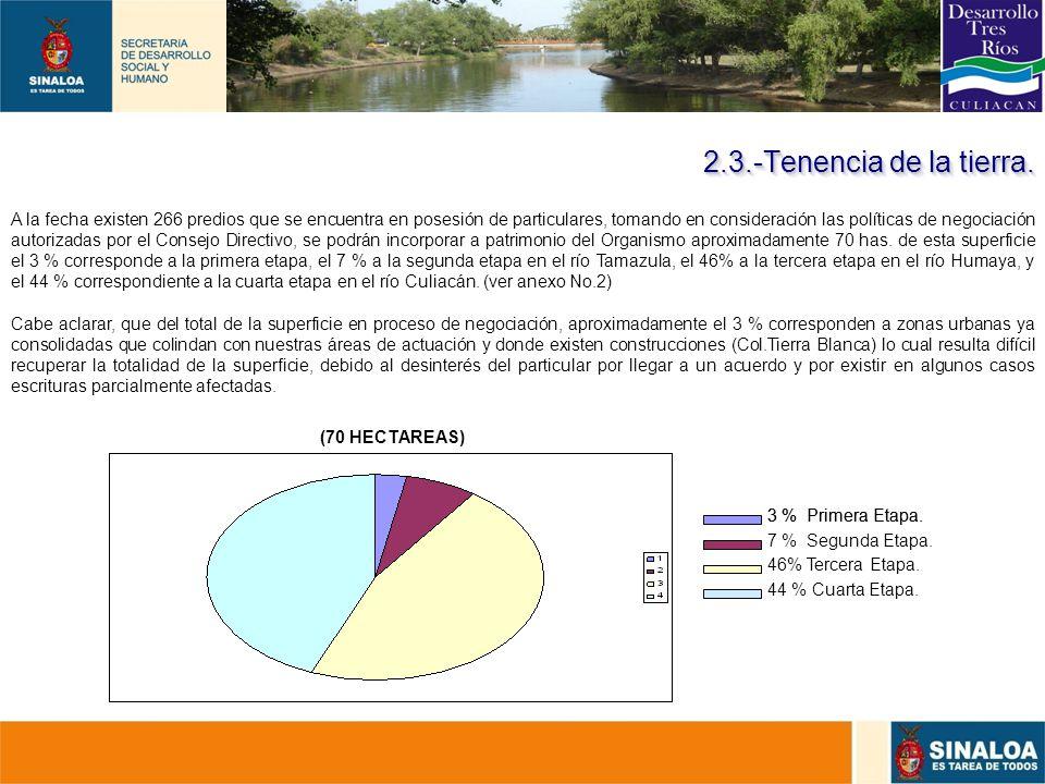 21 2.3.-Tenencia de la tierra. 3 % Primera Etapa. 46% Tercera Etapa. 3 % Primera Etapa. 7 % Segunda Etapa. 44 % Cuarta Etapa. TERRENOS EN POSESIÓN DE