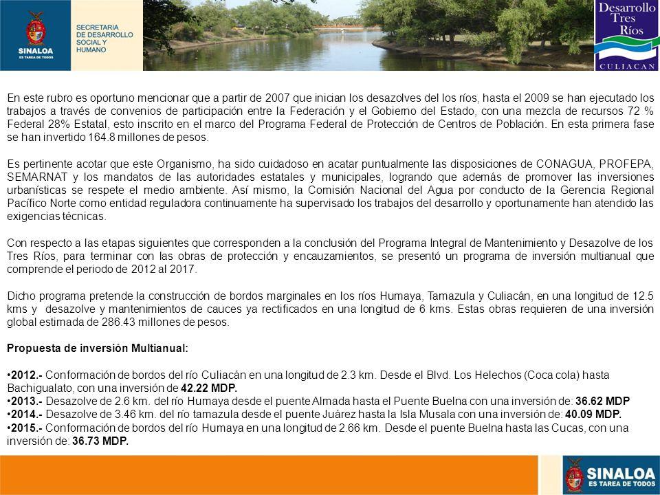 30 En este rubro es oportuno mencionar que a partir de 2007 que inician los desazolves del los ríos, hasta el 2009 se han ejecutado los trabajos a tra