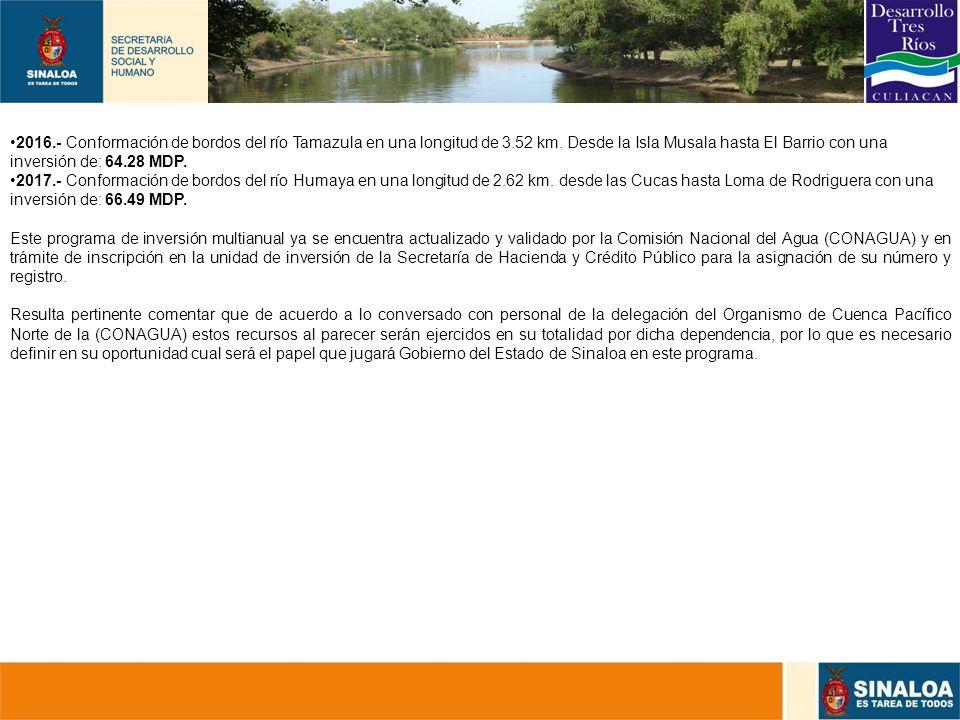 31 2016.- Conformación de bordos del río Tamazula en una longitud de 3.52 km. Desde la Isla Musala hasta El Barrio con una inversión de: 64.28 MDP. 20
