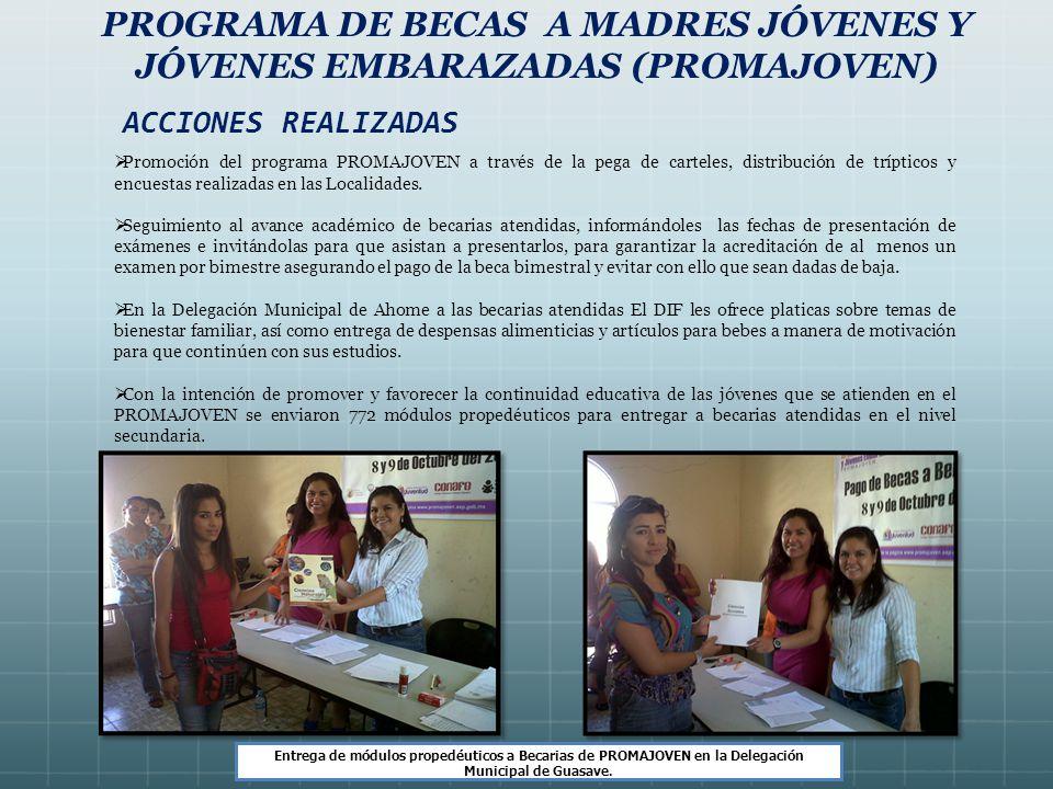 PROGRAMA DE BECAS A MADRES JÓVENES Y JÓVENES EMBARAZADAS (PROMAJOVEN) Promoción del programa PROMAJOVEN a través de la pega de carteles, distribución de trípticos y encuestas realizadas en las Localidades.