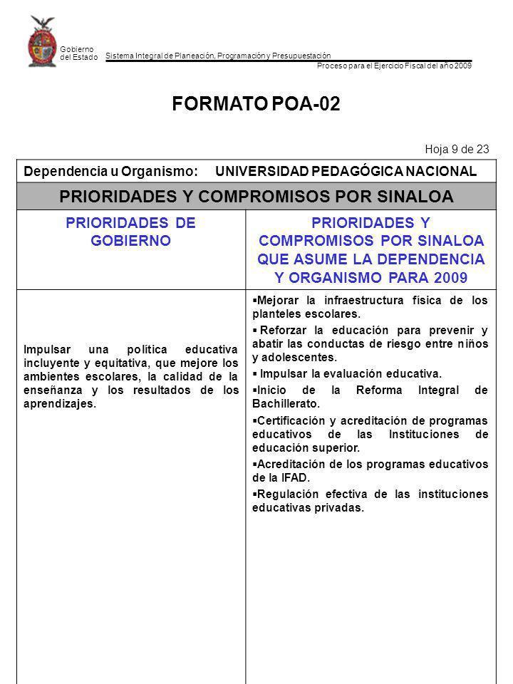 Sistema Integral de Planeación, Programación y Presupuestación Proceso para el Ejercicio Fiscal del año 2009 Gobierno del Estado FORMATO POA-02 Hoja 9 de 23 Dependencia u Organismo:UNIVERSIDAD PEDAGÓGICA NACIONAL PRIORIDADES Y COMPROMISOS POR SINALOA PRIORIDADES DE GOBIERNO PRIORIDADES Y COMPROMISOS POR SINALOA QUE ASUME LA DEPENDENCIA Y ORGANISMO PARA 2009 Impulsar una política educativa incluyente y equitativa, que mejore los ambientes escolares, la calidad de la enseñanza y los resultados de los aprendizajes.