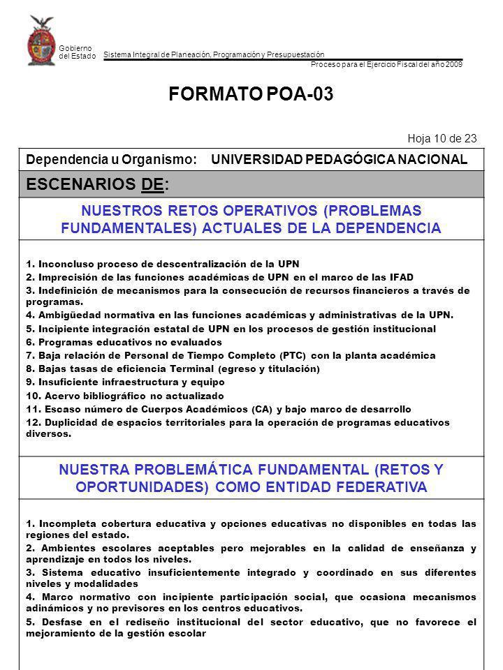 Sistema Integral de Planeación, Programación y Presupuestación Proceso para el Ejercicio Fiscal del año 2009 Gobierno del Estado FORMATO POA-03 Hoja 10 de 23 Dependencia u Organismo:UNIVERSIDAD PEDAGÓGICA NACIONAL ESCENARIOS DE: NUESTROS RETOS OPERATIVOS (PROBLEMAS FUNDAMENTALES) ACTUALES DE LA DEPENDENCIA 1.