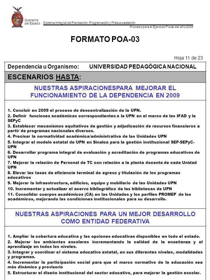 Sistema Integral de Planeación, Programación y Presupuestación Proceso para el Ejercicio Fiscal del año 2009 Gobierno del Estado FORMATO POA-03 Hoja 11 de 23 Dependencia u Organismo:UNIVERSIDAD PEDAGÓGICA NACIONAL ESCENARIOS HASTA: NUESTRAS ASPIRACIONESPARA MEJORAR EL FUNCIONAMIENTO DE LA DEPENDENCIA EN 2009 1.