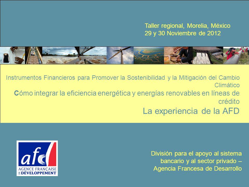 1 Instrumentos Financieros para Promover la Sostenibilidad y la Mitigación del Cambio Climático Cómo integrar la eficiencia energética y energías renovables en líneas de crédito La experiencia de la AFD División para el apoyo al sistema bancario y al sector privado – Agencia Francesa de Desarrollo Taller regional, Morelia, México 29 y 30 Noviembre de 2012