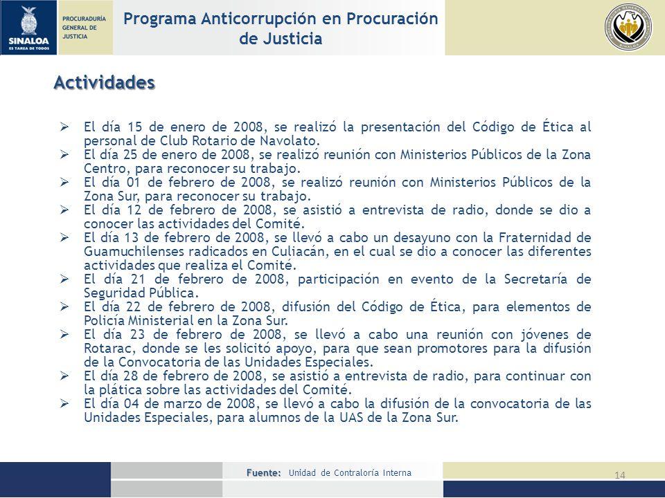Fuente: Fuente: Unidad de Contraloría Interna 14 Programa Anticorrupción en Procuración de Justicia Actividades El día 15 de enero de 2008, se realizó la presentación del Código de Ética al personal de Club Rotario de Navolato.