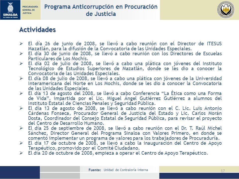 Fuente: Fuente: Unidad de Contraloría Interna 17 Programa Anticorrupción en Procuración de Justicia Actividades El día 26 de junio de 2008, se llevó a cabo reunión con el Director de ITESUS Mazatlán, para la difusión de la Convocatoria de las Unidades Especiales.