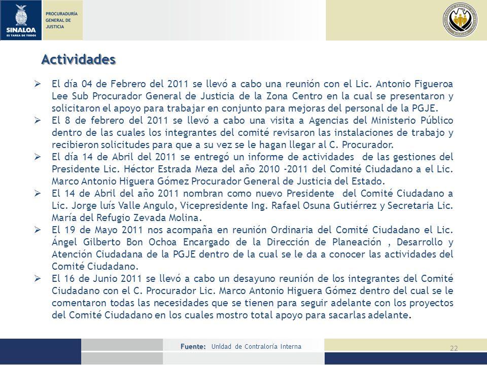 Fuente: Fuente: Unidad de Contraloría Interna 22 Actividades El día 04 de Febrero del 2011 se llevó a cabo una reunión con el Lic.