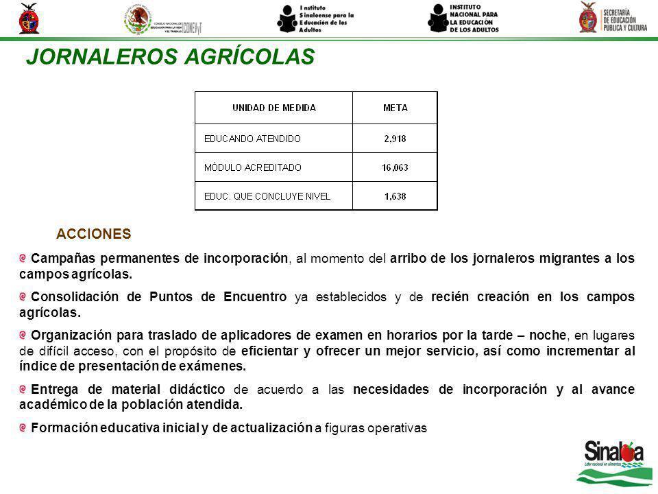 JORNALEROS AGRÍCOLAS Campañas permanentes de incorporación, al momento del arribo de los jornaleros migrantes a los campos agrícolas. Consolidación de