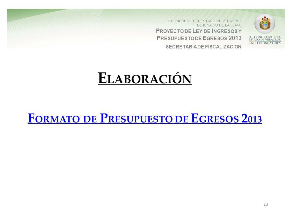 H. CONGRESO DEL ESTADO DE VERACRUZ DE IGNACIO DE LA LLAVE P ROYECTO DE L EY DE I NGRESOS Y P RESUPUESTO DE E GRESOS 2013 SECRETARÍA DE FISCALIZACIÓN E