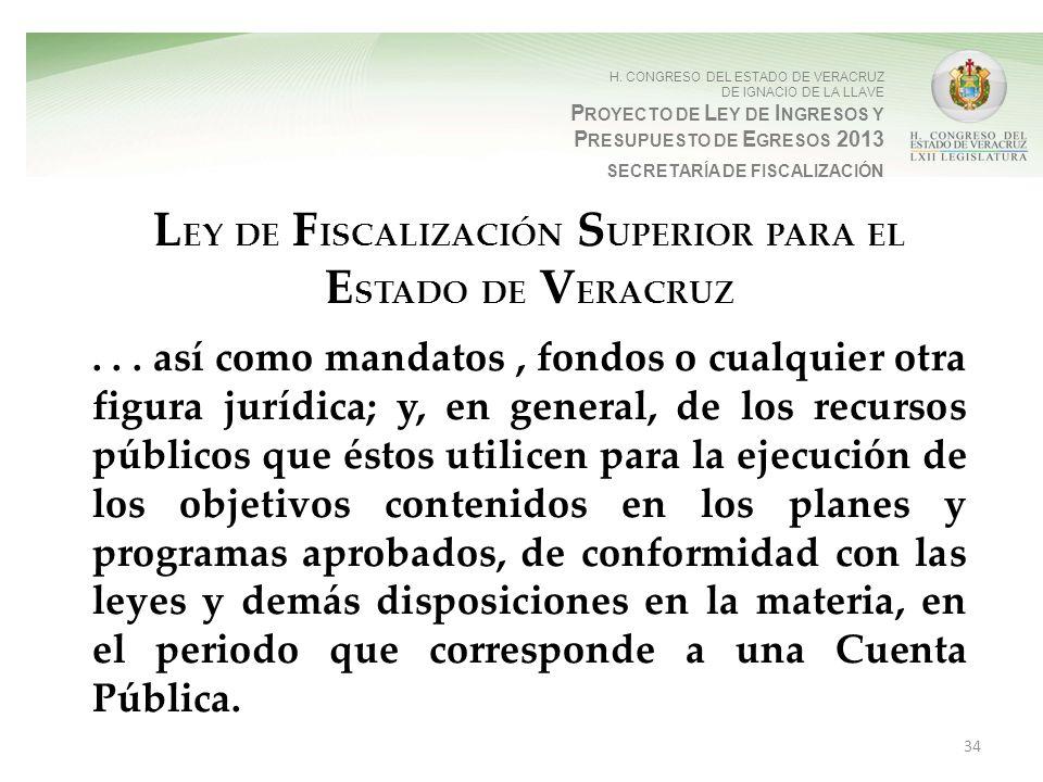 H. CONGRESO DEL ESTADO DE VERACRUZ DE IGNACIO DE LA LLAVE P ROYECTO DE L EY DE I NGRESOS Y P RESUPUESTO DE E GRESOS 2013 SECRETARÍA DE FISCALIZACIÓN L
