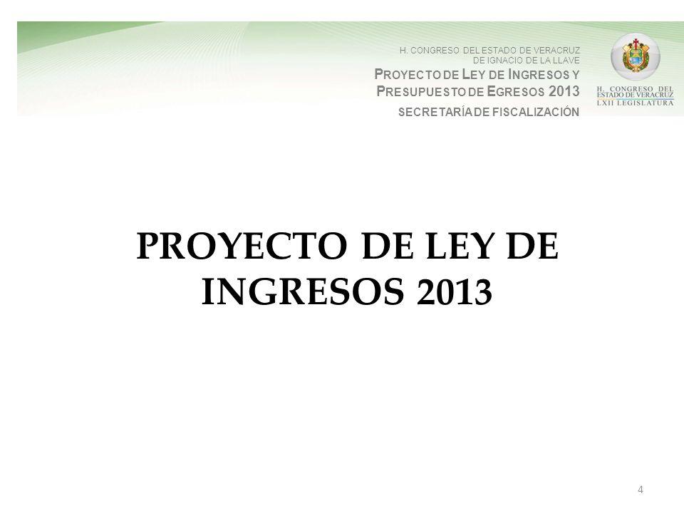H. CONGRESO DEL ESTADO DE VERACRUZ DE IGNACIO DE LA LLAVE P ROYECTO DE L EY DE I NGRESOS Y P RESUPUESTO DE E GRESOS 2013 SECRETARÍA DE FISCALIZACIÓN P