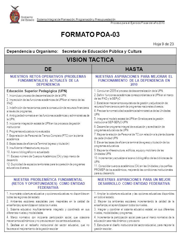 Sistema Integral de Planeación, Programación y Presupuestación Proceso para el Ejercicio Fiscal del año 2010 Gobierno del Estado FORMATO POA-03 Hoja 9 de 23 Dependencia u Organismo: Secretaría de Educación Pública y Cultura VISION TACTICA DEHASTA NUESTROS RETOS OPERATIVOS (PROBLEMAS FUNDAMENTALES) ACTUALES DE LA DEPENDENCIA NUESTRAS ASPIRACIONES PARA MEJORAR EL FUNCIONAMIENTO DE LA DEPENDENCIA EN 2010 Educación Superior Pedagógica (UPN) 1.