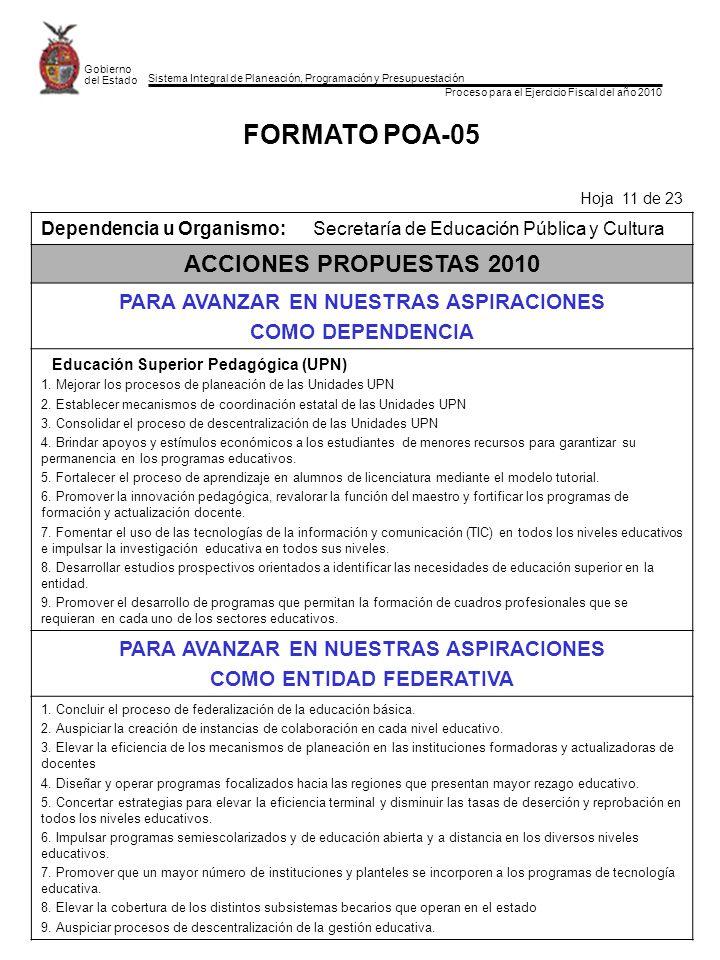 Sistema Integral de Planeación, Programación y Presupuestación Proceso para el Ejercicio Fiscal del año 2010 Gobierno del Estado FORMATO POA-05 Hoja 11 de 23 Dependencia u Organismo:Secretaría de Educación Pública y Cultura ACCIONES PROPUESTAS 2010 PARA AVANZAR EN NUESTRAS ASPIRACIONES COMO DEPENDENCIA Educación Superior Pedagógica (UPN) 1.