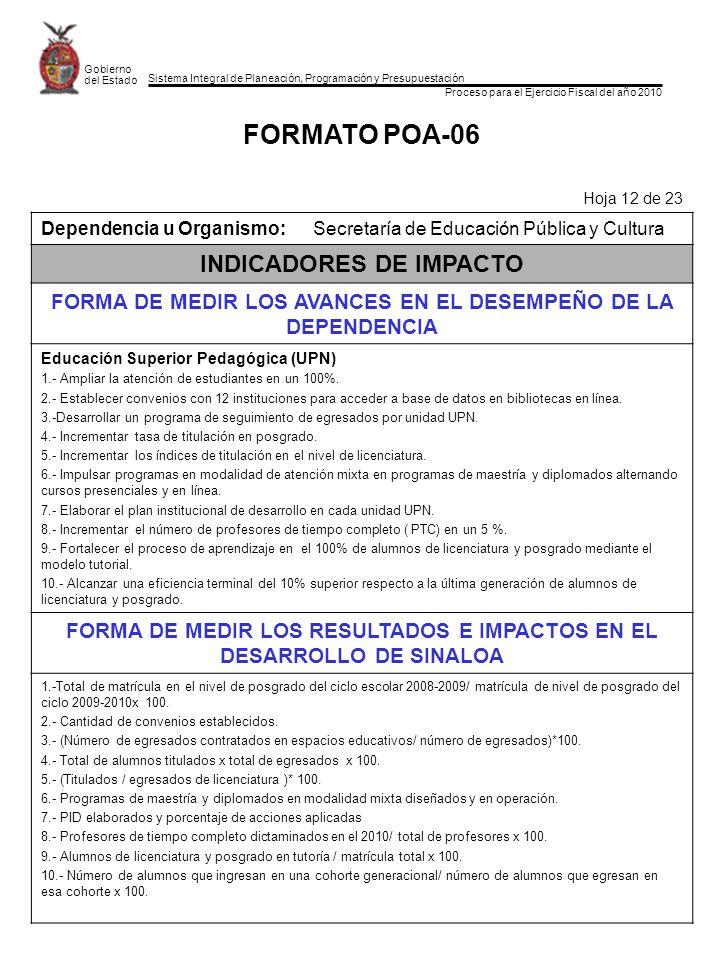 Sistema Integral de Planeación, Programación y Presupuestación Proceso para el Ejercicio Fiscal del año 2010 Gobierno del Estado FORMATO POA-06 Hoja 12 de 23 Dependencia u Organismo:Secretaría de Educación Pública y Cultura INDICADORES DE IMPACTO FORMA DE MEDIR LOS AVANCES EN EL DESEMPEÑO DE LA DEPENDENCIA Educación Superior Pedagógica (UPN) 1.- Ampliar la atención de estudiantes en un 100%.